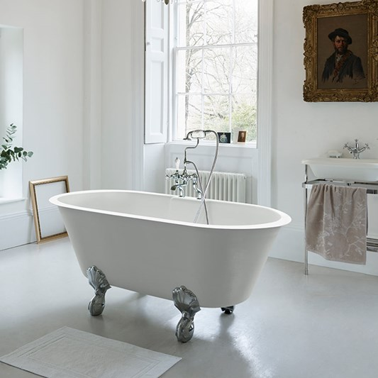 Clearwater Classico Grande ClearStone Roll Top Bath with Claw Feet - 1690 x 800mm