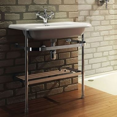 Clearwater Natural Stone 750mm Roll Top Basin with Stainless Steel Wash Stand