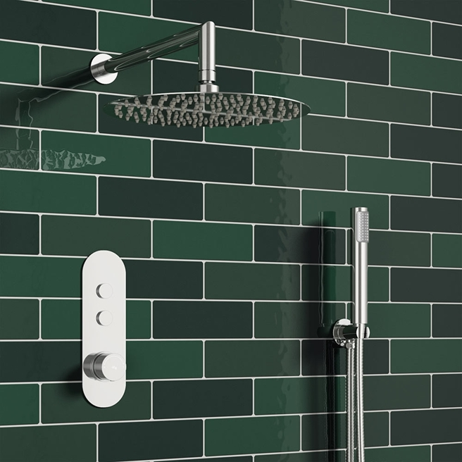 Corinne Concealed Thermostatic Push Button Shower Valve, Fixed Head & Shower Handset Kit