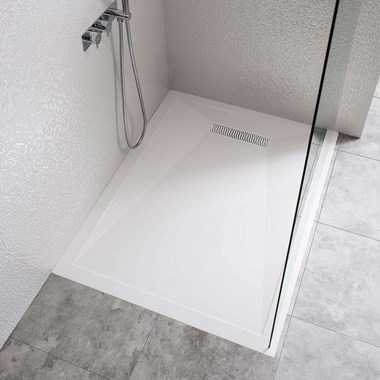 Crosswater 25mm Rectangular Stone Resin Shower Tray & Linear Waste