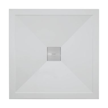 Crosswater 25mm Square Stone Resin Shower Tray & Waste - 900x900mm