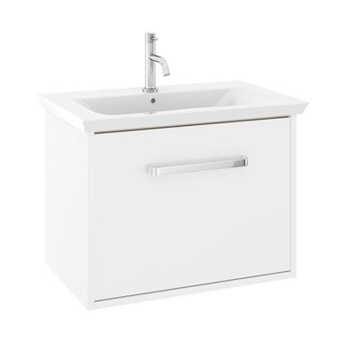 Crosswater Arena 650mm Single Drawer Wall Mounted Vanity Unit & Basin - No Tap Hole - White Gloss