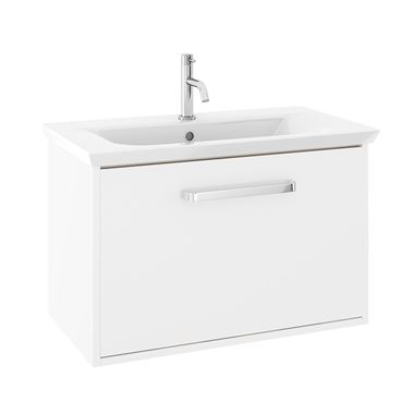 Crosswater Arena 750mm Single Drawer Wall Mounted Vanity Unit & Basin - No Tap Hole - White Gloss