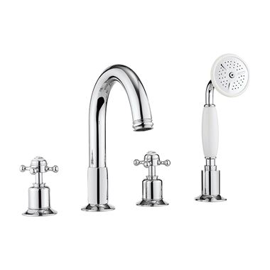 Crosswater Belgravia Crosshead 4 Hole Bath Filler Tap with Shower Kit
