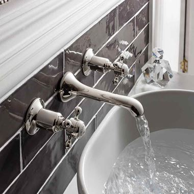Crosswater Belgravia Crosshead Wall Mounted 3 Hole Basin Mixer Tap