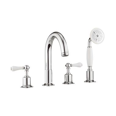 Crosswater Belgravia Lever 4 Hole Bath Filler Tap with Shower Kit