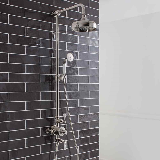 Crosswater Belgravia Exposed Thermostatic Shower Valve with Fixed Shower Head and Shower Handset