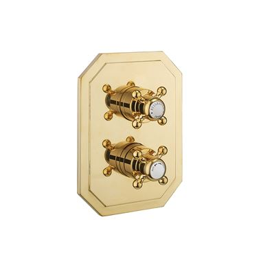 Crosswater Belgravia Concealed Thermostatic Crosshead 1 Outlet Shower Valve with Crossbox Technology - Unlacquered Brass