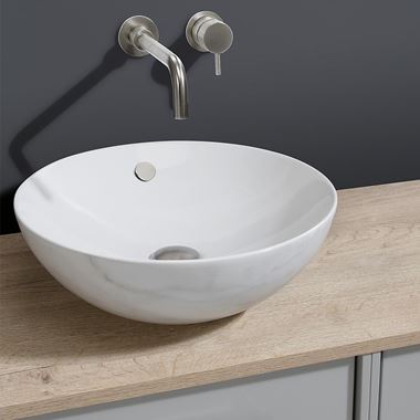 Crosswater Castellon Round Marble/White Countertop Basin - 430mm