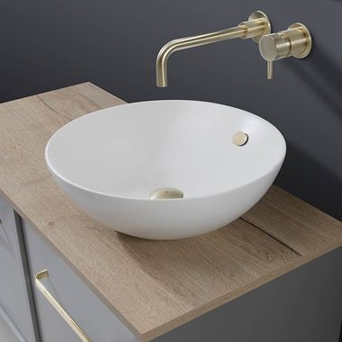 Crosswater Castellon Plus+Ton Round Matt White Countertop Basin - 430mm