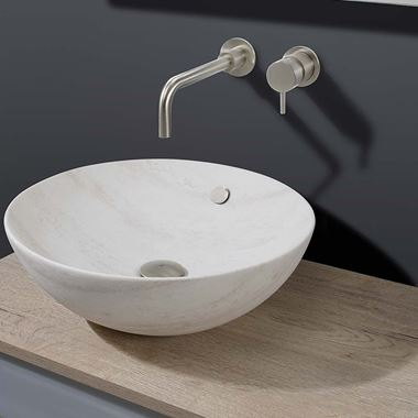 Crosswater Castellon Round Travertine Countertop Basin - 430mm