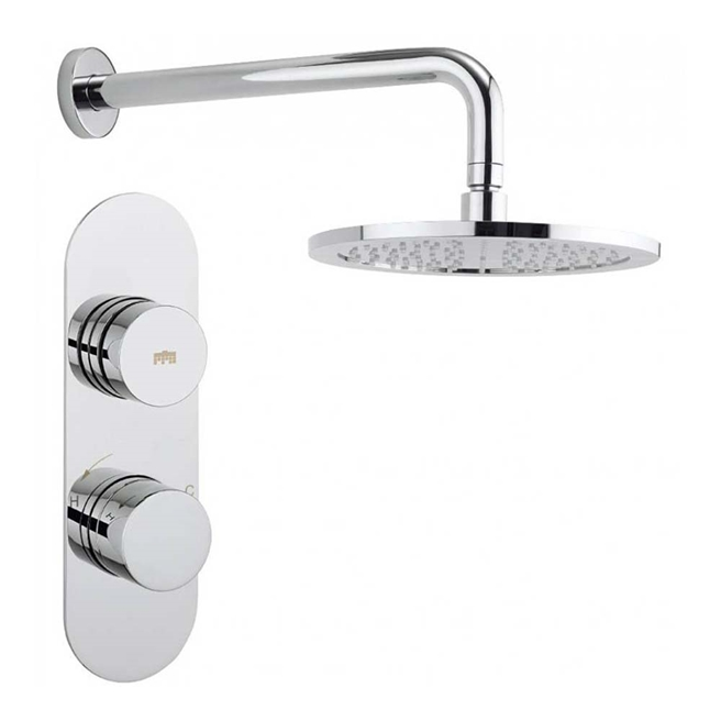 Crosswater Dial Central Concealed Thermostatic Shower Valve with Fixed Shower Head
