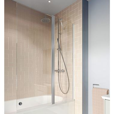 Crosswater Clear 6 6mm Easy Clean Double Panel Hinged Bath Screen - 1500 x 1150mm