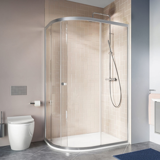 Crosswater Clear 6 6mm Single Door Offset Quadrant Shower Enclosure
