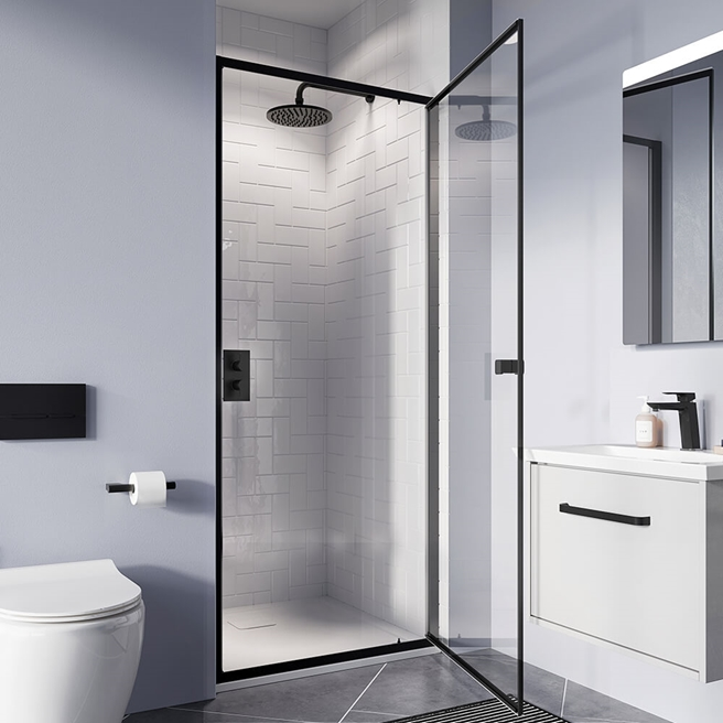 Crosswater Clear 6 6mm Matt Black 900mm Pivot Door & Optional Side Panel