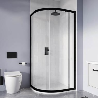 Crosswater Clear 6 6mm Matt Black Offset Quadrant Shower Enclosure - 1000 x 800mm