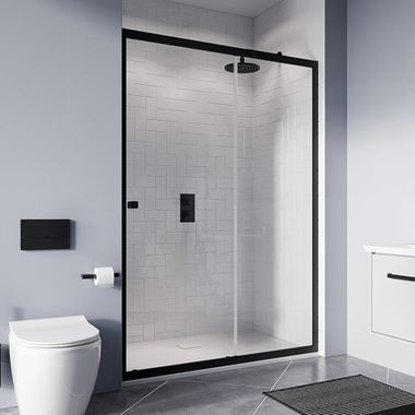 Crosswater Clear 6 6mm Matt Black Single Sliding Door & Optional Side Panel