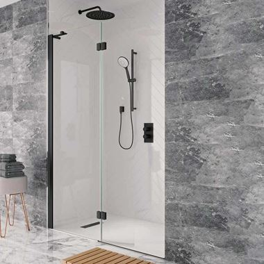 Crosswater Design+ Matt Black 8mm Easy Clean Walk-In Easy Access Shower