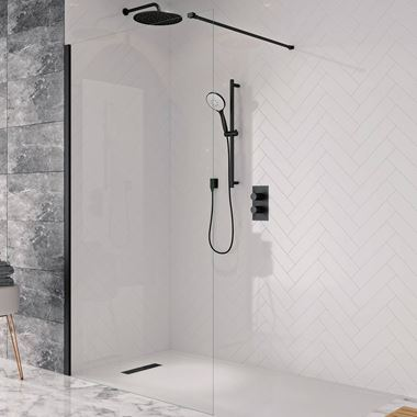 Crosswater Design+ Matt Black 8mm Easy Clean Walk-In Shower