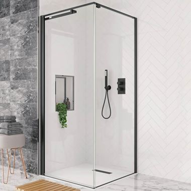 Crosswater Design+ Matt Black 8mm Easy Clean Pivot Door Shower Enclosure with Hush Technology