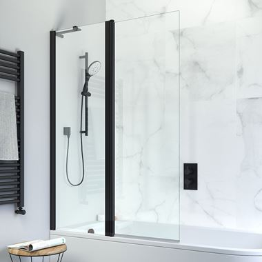 Crosswater Design+ Matt Black 6mm Easy Clean Double Bath Screen - 1500 x 1060mm