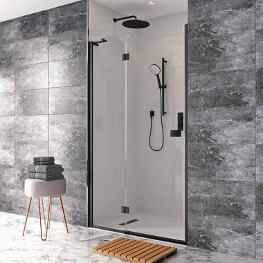 Crosswater Design+ Matt Black 6/8mm Easy Clean Hinged Shower Door with Inline & Optional Side Panel