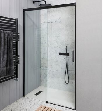 Crosswater Design+ Matt Black 8mm Easy Clean Soft Close Sliding Shower Door & Optional Side Panel