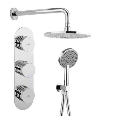 Crosswater Dial Central Concealed Thermostatic 2 Outlet Shower Valve with Fixed Head and 3 Mode Shower Handset