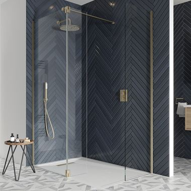 Crosswater Gallery 10 Walk In Shower Enclosure 10mm Panels with Multiple Configurations - Brushed Brass