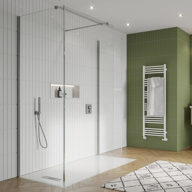 Crosswater Gallery 10 Walk In Shower Enclosure 10mm Panels with Multiple Configurations - Brushed Stainless Steel