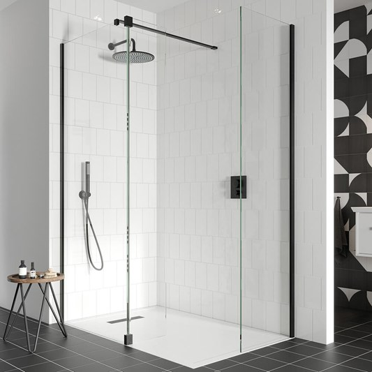 Crosswater Gallery 10 Walk In Shower Enclosure 10mm Panels with Multiple Configurations - Matt Black