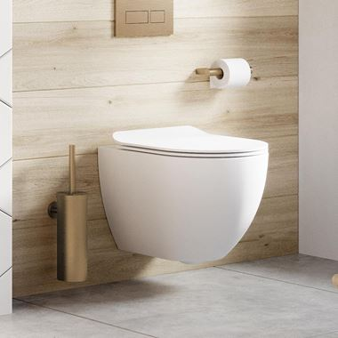 Crosswater Glide II Wall Hung Rimless Matt White Toilet & Soft Close Seat - 460mm Projection