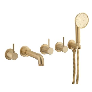 Crosswater MPRO Industrial 5 Hole Wall Mounted Bath Filler Tap with Spout & Handset - Unlacquered Brushed Brass