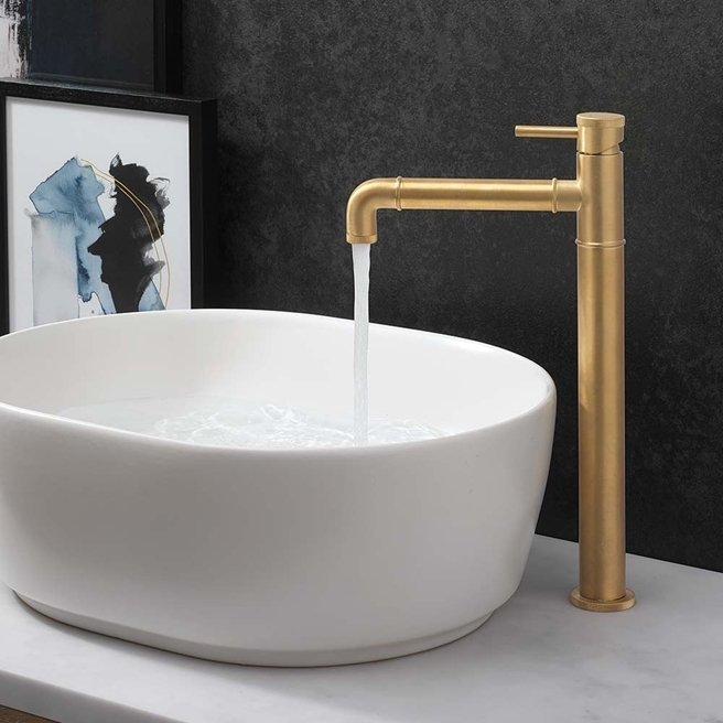 Crosswater MPRO Industrial Tall Basin Mixer Tap - Unlacquered Brushed Brass