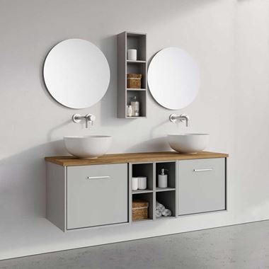 Crosswater Infinity Double Wall Mounted Drawer Unit & Double Base Unit with Worktop - 1400mm