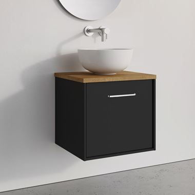 Crosswater Infinity Single Wall Mounted Matt Black Drawer Unit with Windsor Oak Worktop - 500mm - Matt Black Handle