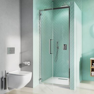 Crosswater Infinity 8mm Easy Clean 2m Tall Hinged Shower Door & Optional Side Panel