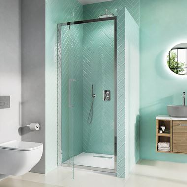 Crosswater Infinity 8mm Easy Clean 2m Tall Pivot Shower Door & Optional Side Panel
