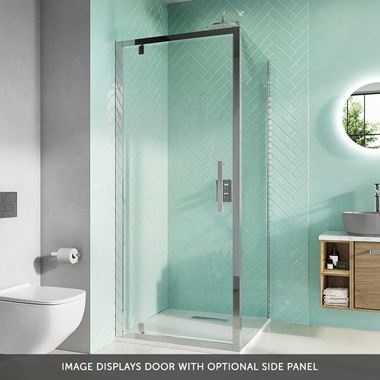 Crosswater Infinity 8mm Easy Clean 2m Tall Pivot 900mm Shower Door & Optional 900mm Side Panel