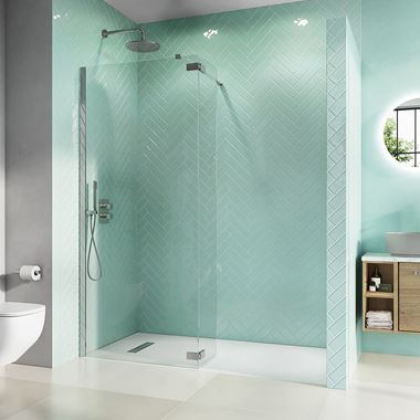 Crosswater Infinity 8mm Easy Clean 2m Tall Walk-In Shower Panel with Deflector Panel