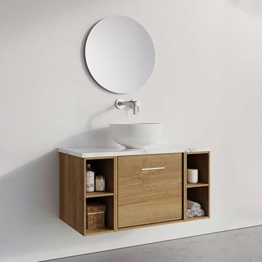 Crosswater Infinity Single Wall Mounted Drawer Unit and Double Base Unit with Worktop - 900mm