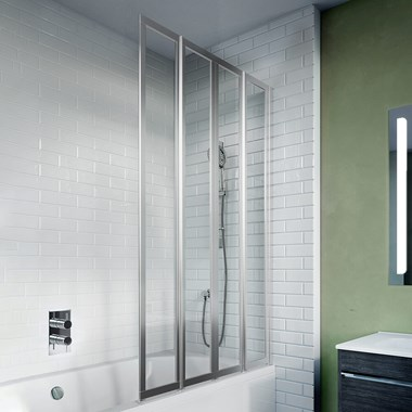 Crosswater Kai 6 Easy Clean Four Panel Fully Folding Bath Screen - 1502 x 800mm