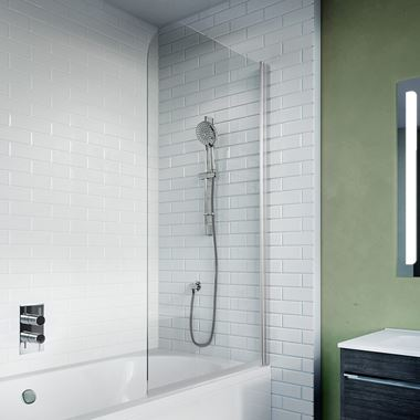 Crosswater Kai 6 6mm Easy Clean Single Panel Bath Screen - 1500 x 900mm