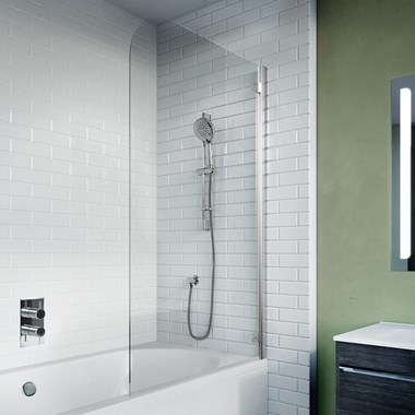 Crosswater Kai 6 6mm Easy Clean Single Hinged Bath Screen - 1380 x 650mm