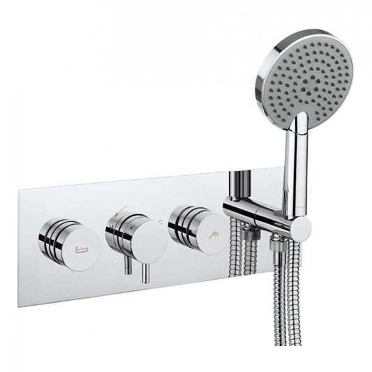 Crosswater Dial Kai Lever Concealed Thermostatic 2 Outlet Bath Valve with 3 Mode Shower Handset