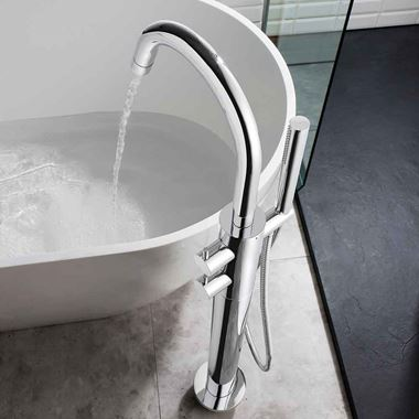 Crosswater Kai Lever Floorstanding Thermostatic Bath Shower Mixer Tap with Shower Kit