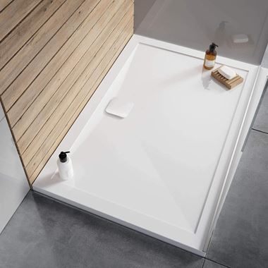 Crosswater Kai Rectangular 25mm White Stone Resin Shower Tray - 1700 x 900mm