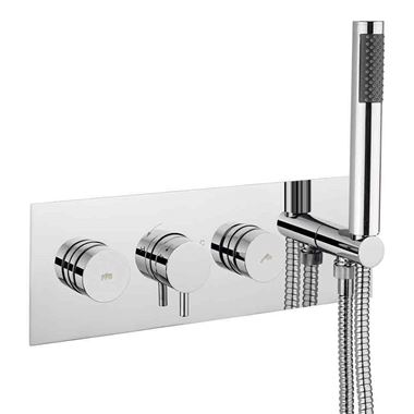 Crosswater Dial Kai Lever Concealed Thermostatic 2 Outlet Shower Valve with Slimline Shower Handset