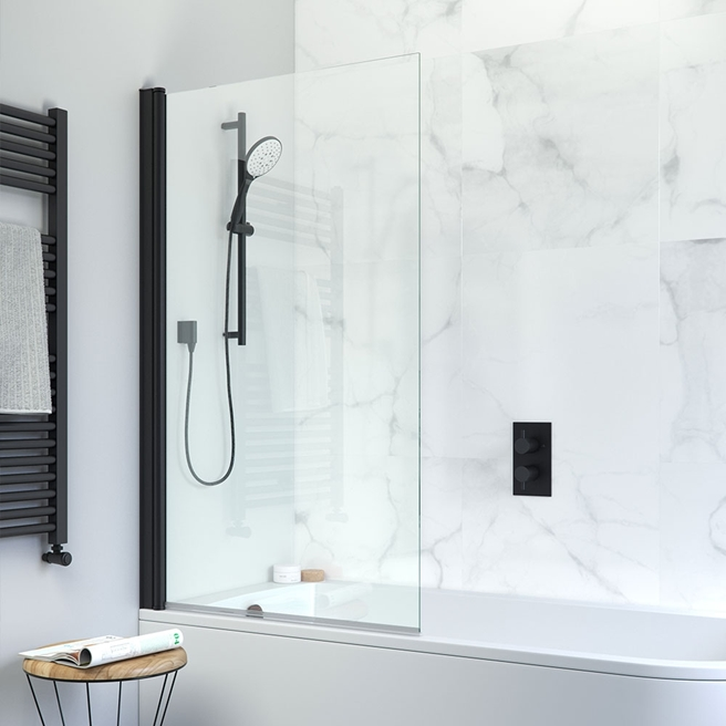 Crosswater Design+ Matt Black 6mm Easy Clean Single Bath Screen - 1500 x 850mm