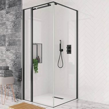 Crosswater Design+ Matt Black 8mm Easy Clean Inline Pivot Door Shower Enclosure with Hush Technology